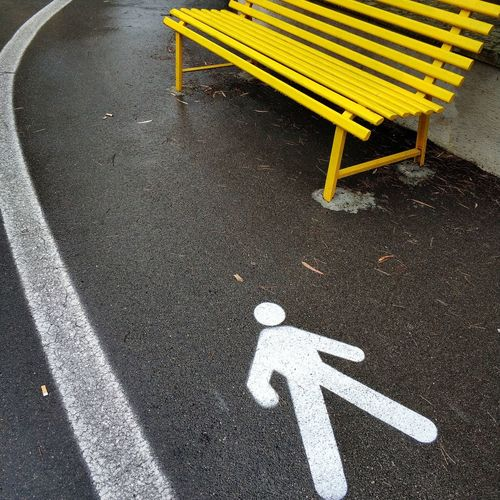 High Angle View Of Wet Road Marking
