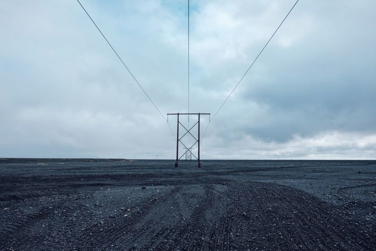 Power lines in East Iceland Cloud - Sky Sky Electricity  Environment Land Scenics - Nature Tranquil Scene Fuel And Power Generation No People Horizon Technology Landscape Cable Tranquility Electricity Pylon Outdoors Power Supply Beauty In Nature Iceland Höfn