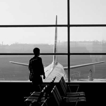 City Airport Departure Area Rear View Airport Silhouette Air Vehicle Airplane Jet Engine Aircraft Commercial Airplane