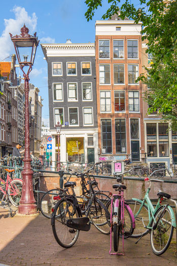 Amsterdam Netherlands Apartment Architecture Bicycle Building Building Exterior Built Structure Canal Canal Houses City Day Dutch Architecture Dutch Houses Holland House Land Vehicle Mode Of Transportation Nature No People Outdoors Parking Residential District Stationary Street Tourism Transportation Tree Window