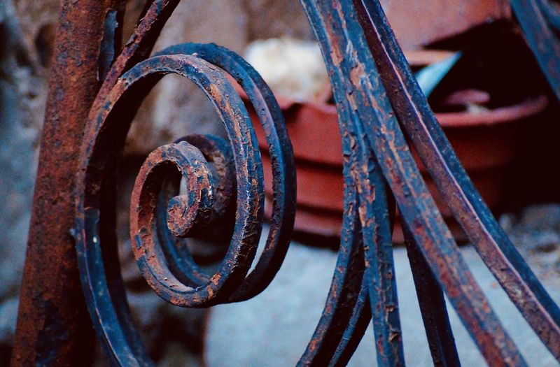 Close-up of rusty railing