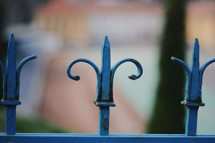 Metal Focus On Foreground Outdoors Close-up Day No People Fence Fences Fencepost Spear Blue Focus Macro Barrier Romania Brasov Sharp