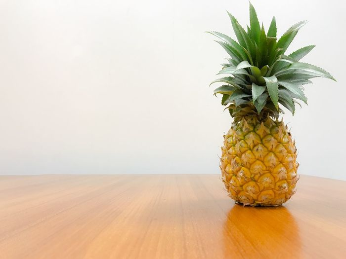 Close-up Food Fruit Healthy Eating Indoors  No People Pineapple Table White Background