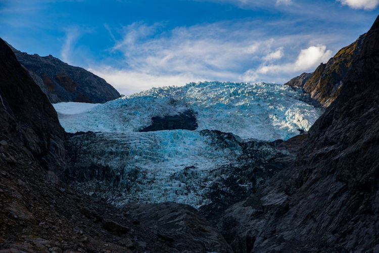 Beauty In Nature Cold Temperature Day Franz Josef Franz Josef Glacier Frozen Glacial Glacier Ice Landscape Mountain Nature New Zealand New Zealand Scenery No People Outdoors Rocks Scenics Sky Sky And Clouds Snow Travel Destinations Water Winter