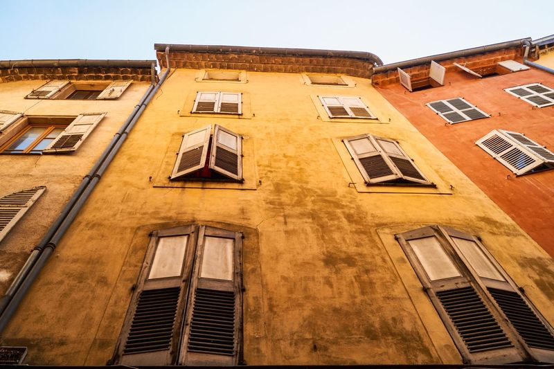 France Wanderlust Vacations Built Structure Building Exterior Architecture Low Angle View Window Building Sky No People Residential District Nature Sunlight City Old Façade Day Clear Sky The Past Outdoors History Shadow
