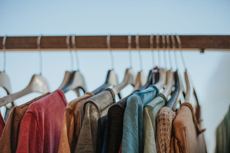 Close-up of clothes on rack