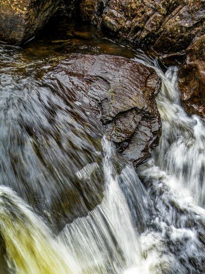 High angle view of waterfall in river