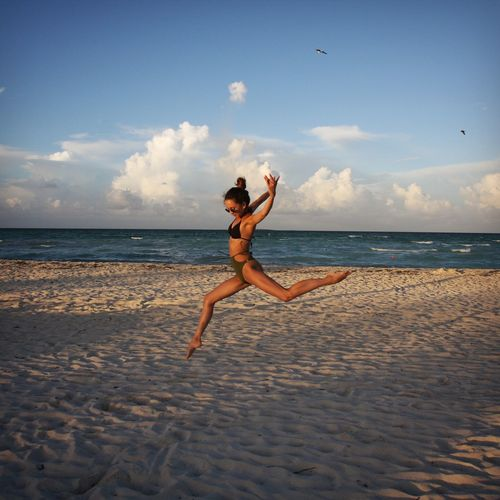 Cuba Dance Dancerlifestyle Dancing Jump Beach Beauty In Nature Cayo Guillermo, Cuba Cloud - Sky Dancer Dancerlife Dancing Girl Freedom Horizon Jumping Jumpshot Leisure Activity Lifestyles One Person Real People Sea Water Young Adult