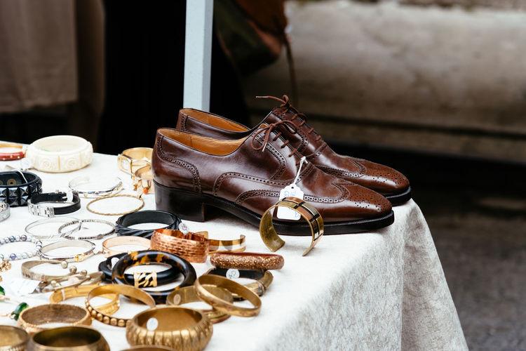High angle view of bangles for sale