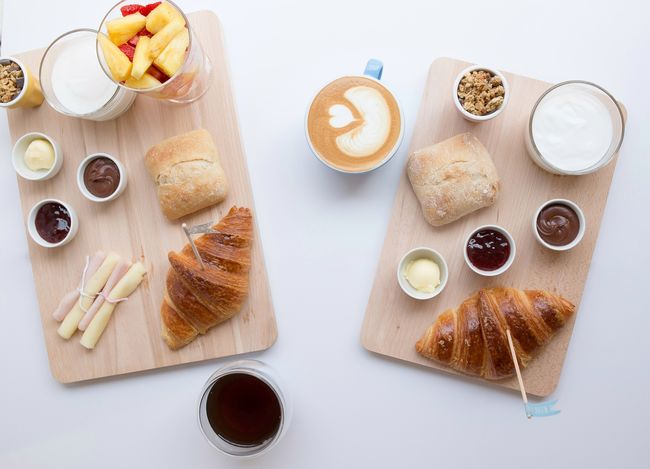 High Angle View Indoors  Sweet Food No People White Background Studio Shot Food Close-up Day Food Styling Yogurt Croissant Coffee - Drink Bread Healthy Eating Eating Brunch Breakfast Ready-to-eat Freshness Table Food And Drink For Two Latte Coffee Cup