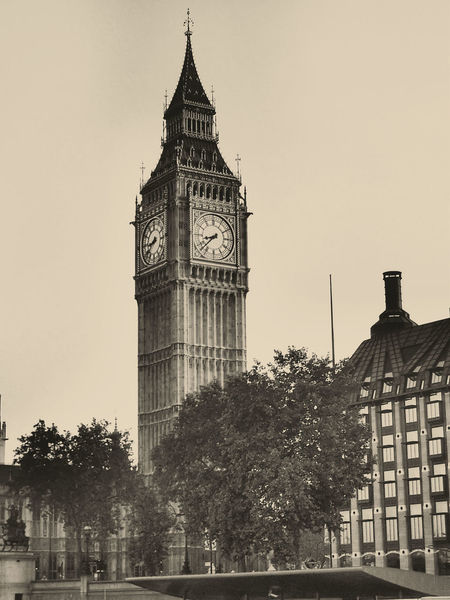 Architecture Big Ben London Capital City City Clock Clock Face Clock Tower Cultures Day England 🌹 Government Minute Hand No People Outdoors Politics And Government Sepia Sky Sunset Time Tower Travel Destinations Tree