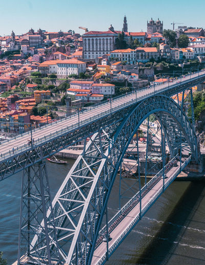 Porto Porto Portugal 🇵🇹 Portugal Eiffel Bridge - Man Made Structure Bridge Bridges Europe City Landscape Top View Top View Of City Life Canal River River View Travel Travel Destinations Tranquility Holiday Love City Cityscape Pattern People Pattern, Texture, Shape And Form Architecture Built Structure Building Exterior Nature Day Outdoors Connection Transportation Rail Transportation Water Sky Arch No People Arch Bridge Track