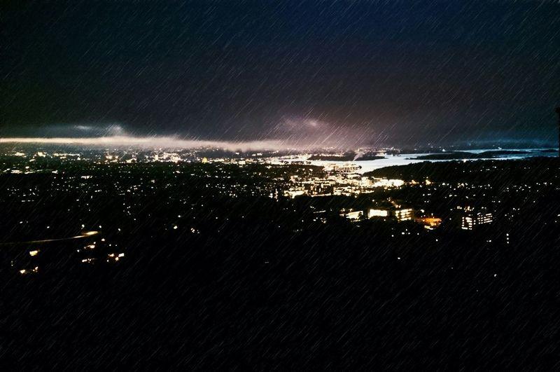Night Nightphotography City Lights Rainy Fjord