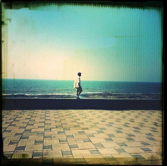 On the way...alone Sea Mumbaimerijaan Sky And Clouds Man