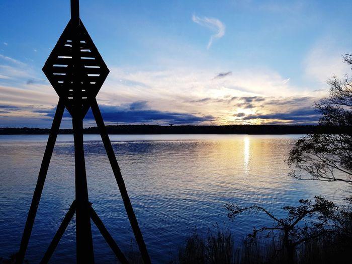 Wodden Seamanlife Seamark Nature Blue Water Sunset Sea Silhouette Sky Calm Tranquil Scene Idyllic Remote