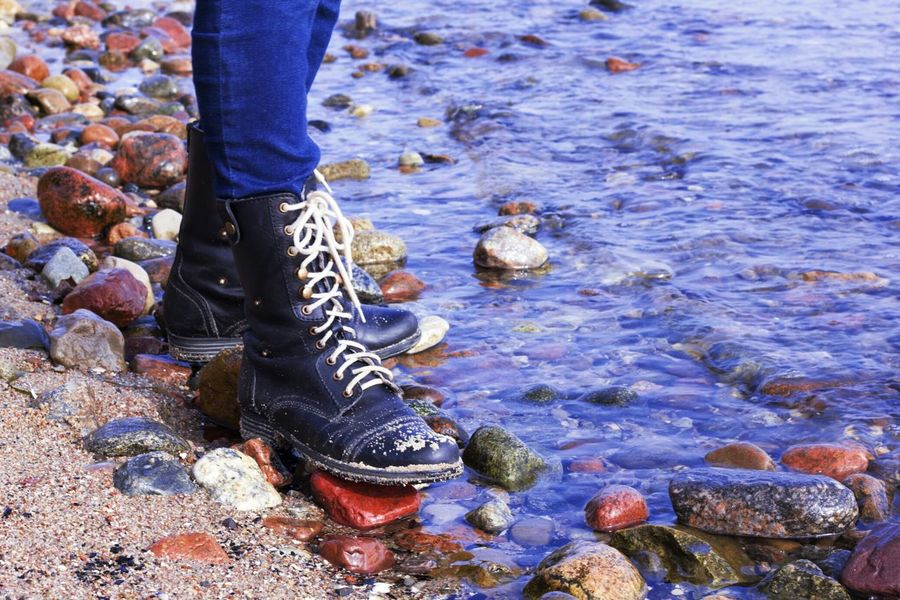 Walking Around Boots Shoes Sea Stones Water Baltic Sea Waterreflections  Beach Sand