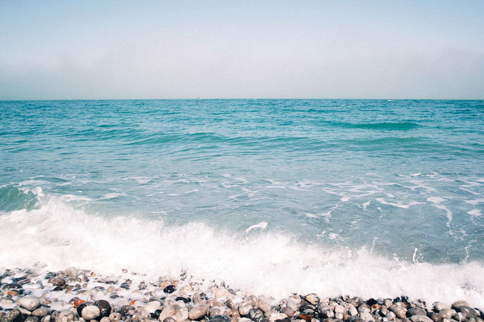 Beach Beauty In Nature Blue Calm France Horizon Over Water Idyllic Nature Normandie Outdoors Pebble Remote Scenics Sea Seascape Shore Sky Sky And Clouds Surf Tourism Tranquil Scene Tranquility Vacations Water Wave
