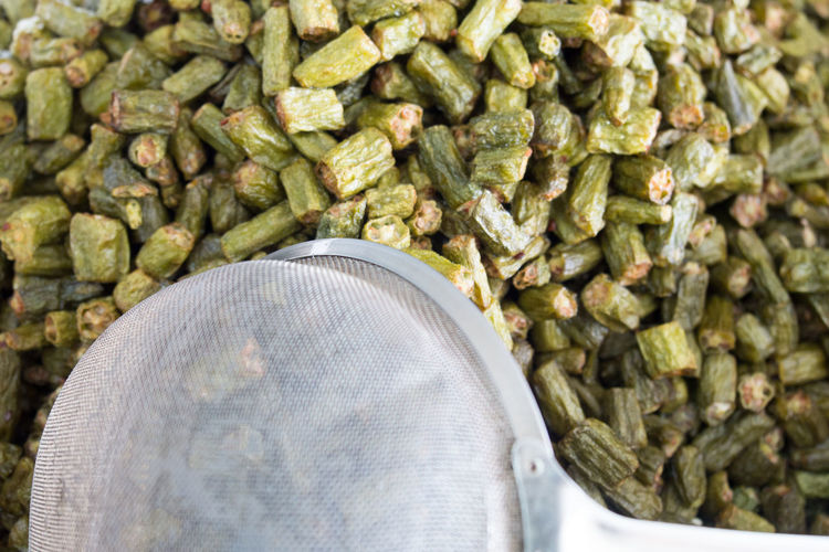 Close-up of fried okra for sale in market