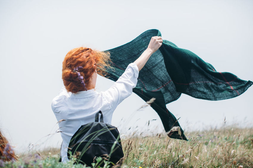 Blown Blown Away Casual Clothing Day Female Field Grass Grassy Hiker Landscape Nature Outdoors Sky Wind Windy Color Palette
