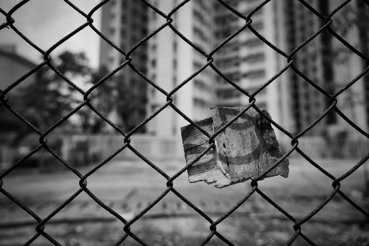 Close-up of chainlink fence during winter