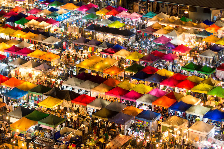 Bangkok Thailand. Colourful Colourful Market Mar Multi Colored Night Market Ratchada Night Market Spotted In Thailand