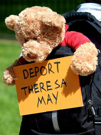 March For Windrush-Scrap Mays Racist Act Protest. Whitehall. London. 05/05/2018 Immigration Protest Institutional Racism Hostile Environment Protest Windrush Scandal Windrush Protest Zuiko Olympus London News Placards Steve Merrick Stevesevilempire Communication Text Western Script No People Day Representation Close-up Stuffed Toy Toy Sunlight Animal Representation