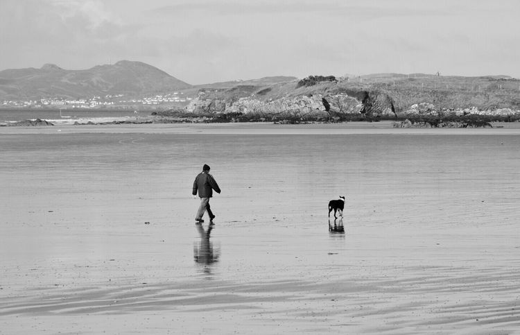 Donegal Beach. Inishowen EyeEm Beach Outdoors Photography Nature Photography B/w Dog Walk Man