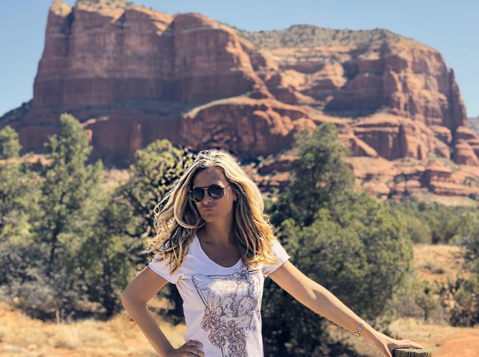 Bell Rock Bell Rock Pathway One Person Mountain Young Adult Young Women Nature Portrait Travel Land Tourism Front View Lifestyles Mountain Range Focus On Foreground Scenics - Nature Women Beauty In Nature Leisure Activity Travel Destinations Day Adult