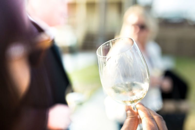 Cropped image of hand holding wineglass