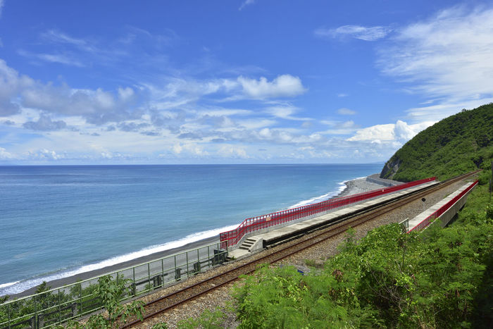 Taiwan's eastern coastline scenic area, is a station Taitung station is the coastline of the most beautiful scenery of a small train station. Holiday More Station White Clouds Beautiful Coast Beauty In Nature Blue Cloud - Sky Day Horizon Over Water Journey Nature Nautical Vessel No People Outdoors Railway Scenics Sea Sky Train Station Tranquil Scene Tranquility Transportation Tree Water