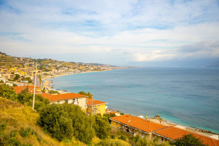 Italy Sicily Water Sea Cloud - Sky Sky Scenics - Nature Architecture Beauty In Nature Tree Nature High Angle View Built Structure Land Plant Building Exterior Day Beach Horizon Over Water Horizon Tranquil Scene No People Outdoors
