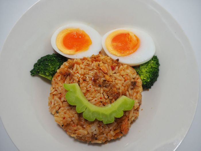 Healthy food fire rice vegetable well being eggs Food And Drink Funny Close-up Directly Above Egg Fire Rice Food Food And Drink Freshness Garnish Healthy Eating Healthy Lifestyle High Angle View Indoors  Meal Meat No People Plate Ready-to-eat Rice - Food Staple Serving Size Still Life Table Vegetable Wellbeing