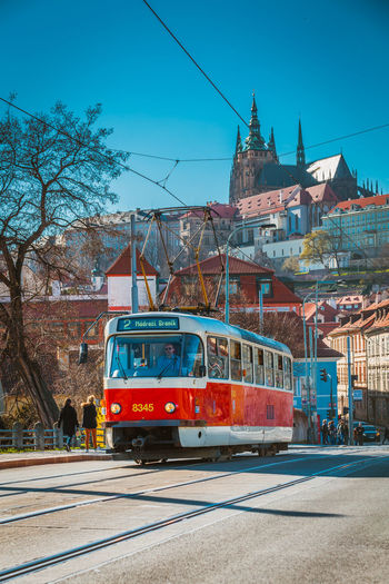 Architecture Blue Building Exterior Built Structure Cable City Clear Sky Day Mode Of Transport No People Outdoors Prague Railroad Track Sky Transportation Tree