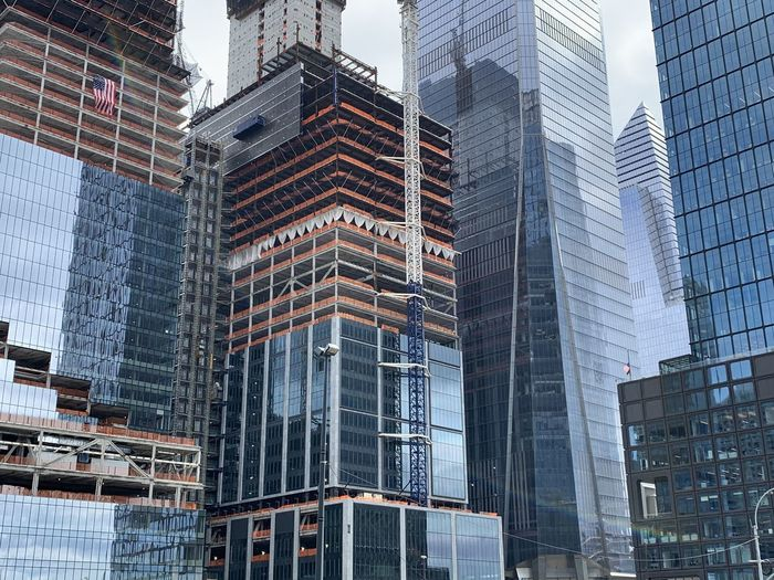 Low angle view of modern buildings in downtown new york city