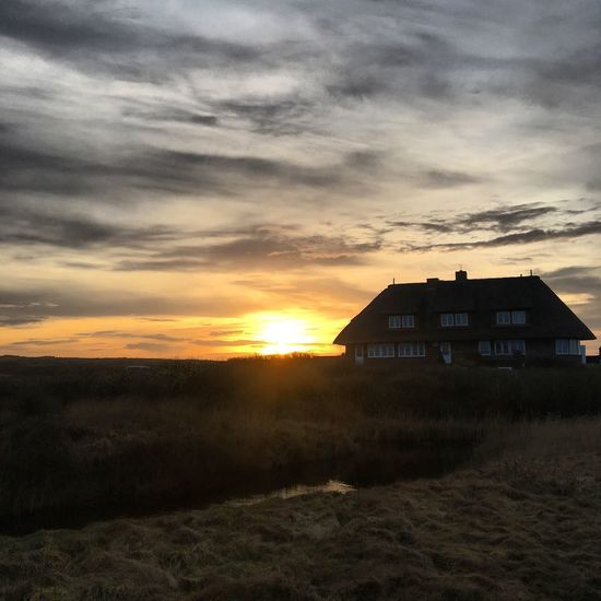 EyeEmNewHere Sunset House Architecture Building Exterior Tranquil Scene Cloud - Sky No People Tranquility Sky Beauty In Nature Nature Landscape Grass Outdoors Beach Island Scenics Sylt