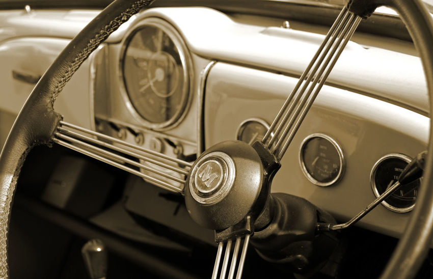 Car Car Interior Close-up Day Land Vehicle Metal Mode Of Transport Morris Minor Morris Minor 1000 Music Musical Instrument No People Old-fashioned Outdoors Retro Styled Speedometer Steering Wheel Transportation Vintage Car