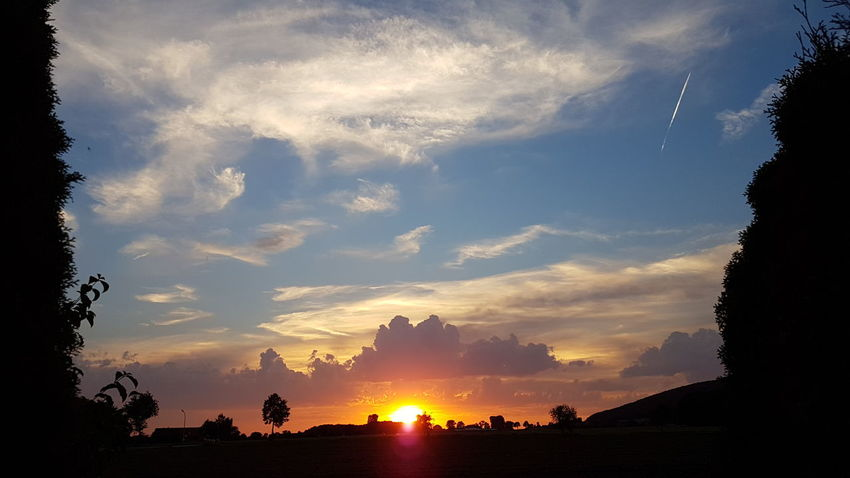 Sonnenuntergang Sonnenuntergang ❤ Sonnenuntergang 🌇 Sonnenuntergang Im Sommer Sonnenuntergänge Sonnenuntergang Himmel Sunset Sun Tree Silhouette Tranquil Scene Sky Scenics Tranquility Landscape Cloud - Sky Beauty In Nature Orange Color Nature Cloud Idyllic Field Sunbeam Growth Outdoors