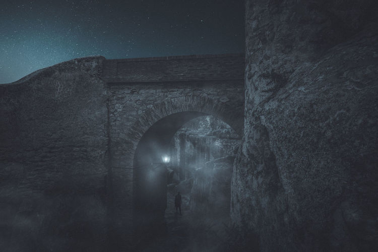 Ancient Ancient Civilization Arch Architecture Belief Building Building Exterior Built Structure Foggy History Nature Night Old Old Ruin Outdoors Sky Spirituality Stars Stone Wall The Past