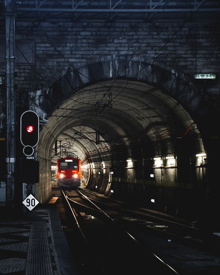 Train passing through tunnel