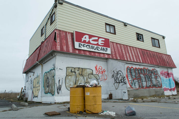 Built Structure Outdoors Building Exterior Text No People Architecture Abandoned Communication Sign Middleofnowhere Ontario, Canada Abandoned Places Abandoned & Derelict Abandoned Buildings Abandonedplaces Restaurant Graffiti