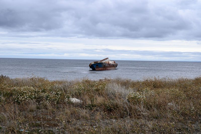 Travel Scenics - Nature Tranquility Beauty In Nature Cloud - Sky Patagonia Chile Patagonia My Best Photo Moody Sky Moody Wild Shipwreck Seafront Boat Landscape Strait Of Magellan The Great Outdoors - 2019 EyeEm Awards