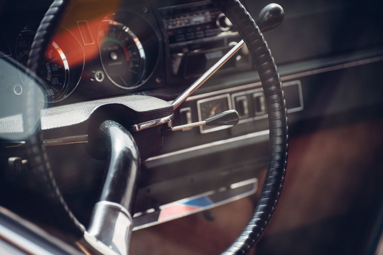Car Car Interior Close-up Control Control Panel Dashboard Focus On Foreground Gearshift Indoors  Land Vehicle Mode Of Transportation Motor Vehicle No People Old Retro Styled Speedometer Steering Wheel Technology Transportation Vehicle Interior Vintage