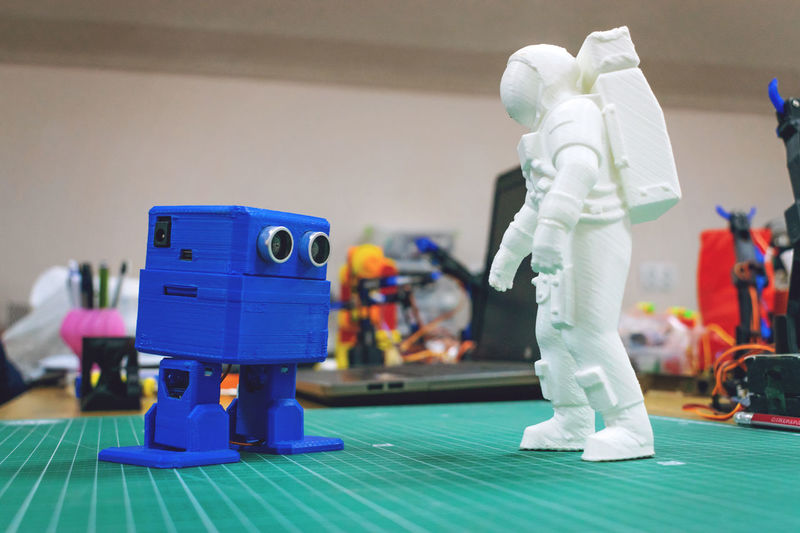 Close-up of robot toys on table