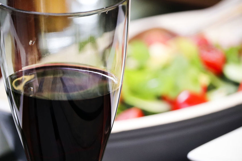 Red wine and salad. Alcohol Alcool  Close-up Dieting Dinner Drink Drinking Glass Focus On Foreground Food Food And Drink Freshness Fruit Glass Healthy Eating Meal No People Red Wine Refreshment Salad Snack Transparent Vegetable Wellbeing Wine Wineglass