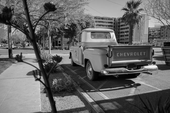 Old-fashioned Blackandwhite Building Exterior Truck