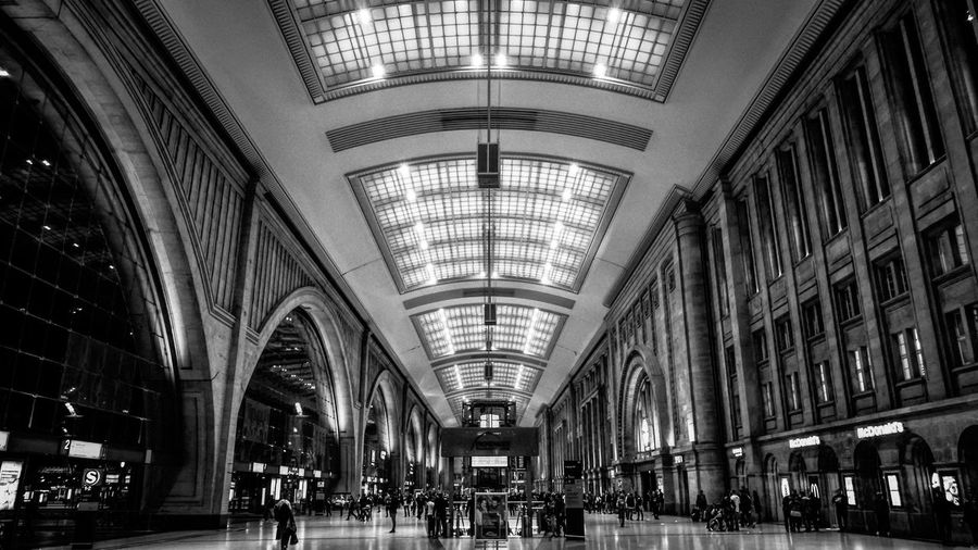 Leipzig Mainstation Architecture Built Structure Railroad Station Arch Indoors  Ceiling Travel Transportation Building - Type Of Building Public Transportation Large Group Of People Real People Modern Lifestyles Women City People Day Adult