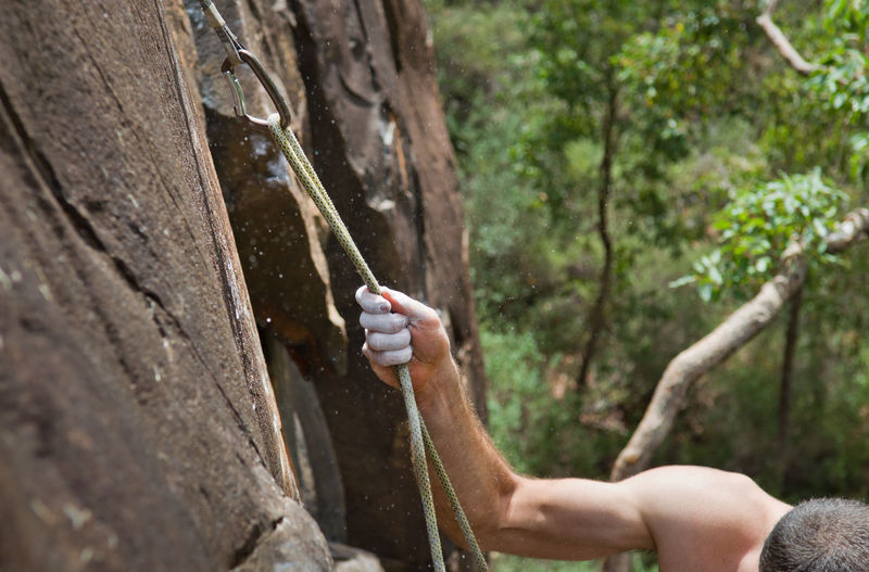Rock climbing in Western Australia Forest Holding Human Body Part Human Hand Leisure Activity Nature One Person Outdoors Powder Rock Climbing Rope