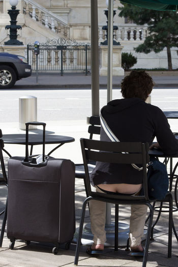 Cafe Chair Contemplating Day Drinking Coffee One Person Outdoors Rear View Sitting, Seated