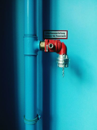 Blue Wall Fire Hydrant Staircase I Love Color Minimalist Architecture