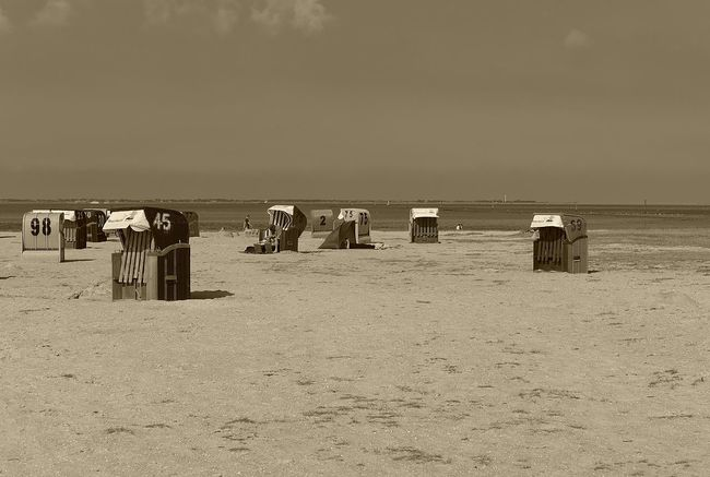 Neuharlingersiel beach Beach Eastfrisia Frisia Hooded Beach Chair Horizon Over Water Neuharlingersiel Northsea Ocean Sand Sandy Sea Shore Solitude Sunshade